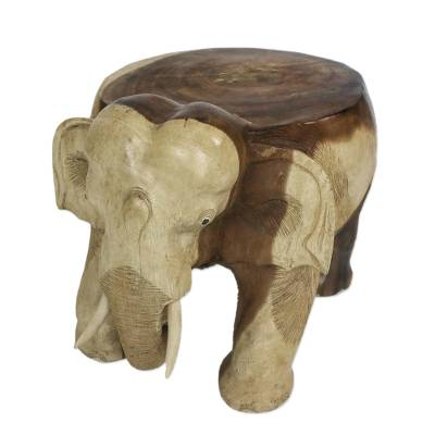 Pleasant Natural Wood Elephant Stool From Thailand 15 Inch Elephant Relaxation Onthecornerstone Fun Painted Chair Ideas Images Onthecornerstoneorg