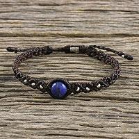 Lapis lazuli pendant bracelet, 'Watery Orb' - Lapis Lazuli Pendant Bracelet on Brown Cord from Thailand