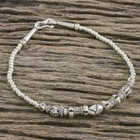 Silver beaded bracelet, 'Karen Knot' - Karen Hill Tribe Silver Beaded Bracelet from Thailand