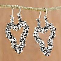 Sterling silver hoop earrings, 'Exquisite Heart' - Handcrafted Sterling Silver Scrollwork Heart Hoop Earrings