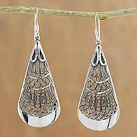 Sterling silver filigree dangle earrings, 'Exquisite Rain' - Handcrafted Sterling Silver Teardrop Dangle Earrings