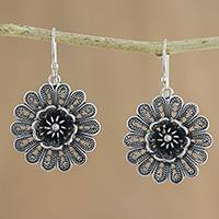Sterling silver filigree dangle earrings, 'Intricate Petals' - Handcrafted Sterling Silver Flower Dangle Earrings