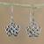 Sterling silver dangle earrings, 'Intricate' - Handcrafted Sterling Silver Openwork Star Dangle Earrings thumbail