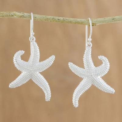 Sterling silver dangle earrings, 'Dancing Starfish' - Sterling Silver Starfish Dangle Earrings from Thailand