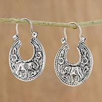 Sterling silver hoop earrings, 'Lanna Elephant' - Elephant-Themed Sterling Silver Hoop Earrings from Thailand