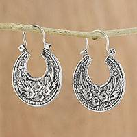 Sterling silver hoop earrings, 'Lanna Flower' - Floral Sterling Silver Hoop Earrings from Thailand