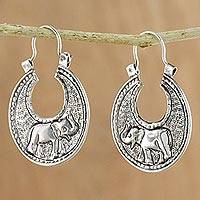 Sterling silver hoop earrings, 'Elephant Magic' - Sterling Silver Elephant Hoop Earrings from Thailand