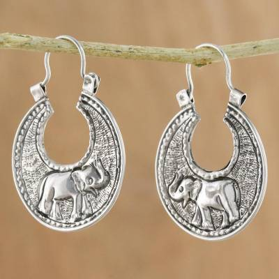 Sterling silver hoop earrings, Elephant Magic