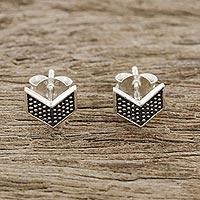 Sterling silver stud earrings, 'Chevron Chic' - Sterling Silver Chevron Stud Earrings from Thailand