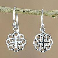 Sterling silver dangle earrings, 'Knotted Flowers' - Circular Sterling Silver Celtic Knot Earrings from Thailand