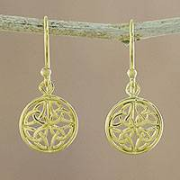 Gold plated sterling silver dangle earrings, 'Interconnected in Gold' - Gold Plated Sterling Silver Labyrinth Circle Dangle Earrings