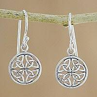 Sterling silver dangle earrings, 'Interconnected in Silver' - Handcrafted Sterling Silver Labyrinth Circle Dangle Earrings