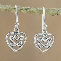 Sterling silver dangle earrings, 'Knotted Hearts' - Sterling Silver Celtic Knot Heart Earrings from Thailand