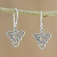 Sterling silver dangle earrings, 'Triangle Knots' - Triangular Sterling Silver Celtic Knot Dangle Earrings