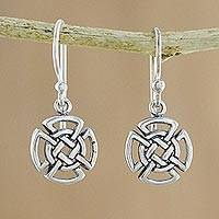 Sterling silver dangle earrings, 'Woven Crosses' - Sterling Silver Celtic Knot Cross Earrings from Thailand