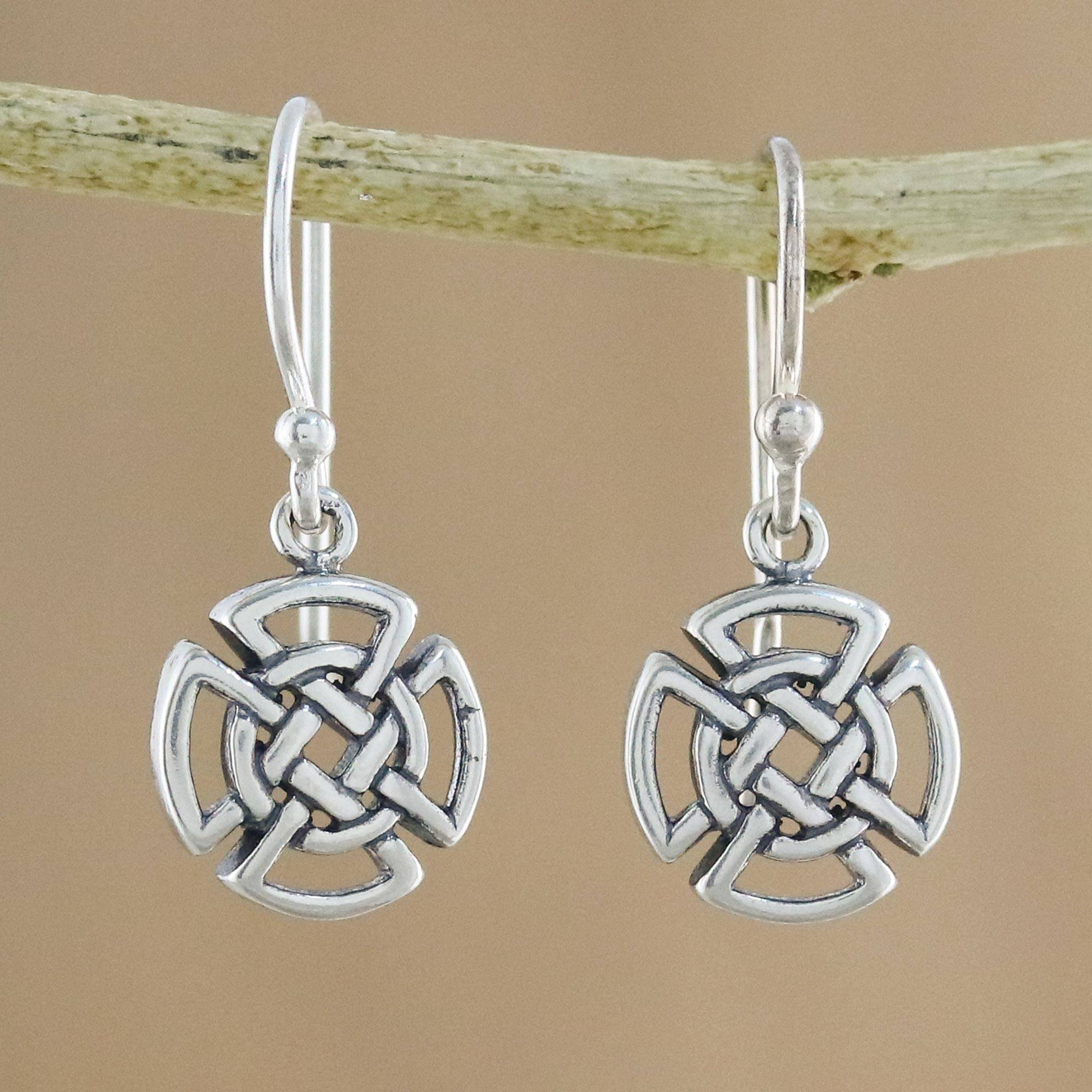167c711ce Sterling Silver Celtic Knot Cross Earrings from Thailand,
