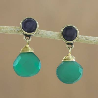 Novica Onyx and peridot dangle earrings, Radiant Night - Onyx Beaded Dangle Earrings