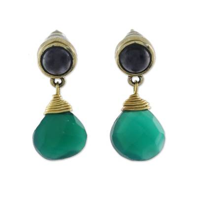 Gold plated onyx and iolite dangle earrings, 'Lucky Night' - Round Onyx and Teardrop Iolite in Brass Dangle Earrings
