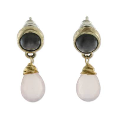 Gold plated smoky quartz and chalcedony dangle earrings, 'Beauty in Contrasts' - Smoky Quartz and Chalcedony in Brass Dangle Earrings
