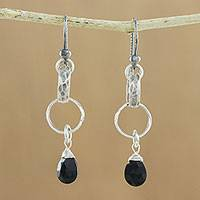 Onyx dangle earrings, 'Day to Night' - Onyx and Textured Hill Tribe Silver Loop Dangle Earrings