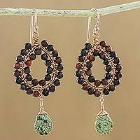 Rose gold accented jasper and tiger's eye beaded dangle earrings, 'Wonderful Drops' - Jasper and Tiger's Eye Beaded Dangle Earrings from Thailand
