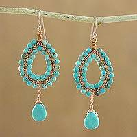 Beaded dangle earrings, 'Wonderful Drops' - Blue Calcite Beaded Dangle Earrings from Thailand