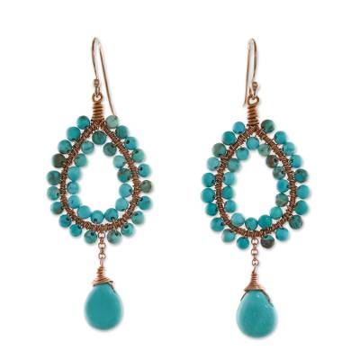 Rose gold accented beaded dangle earrings, 'Wonderful Drops' - Rose Gold Accented Beaded Dangle Earrings from Thailand