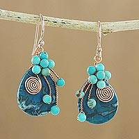 Agate beaded dangle earrings, 'Ocean Dance' - Agate and Calcite Beaded Dangle Earrings from Thailand