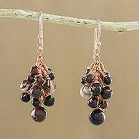Tiger's eye and jasper dangle earrings, 'Delightful Cluster' - Tiger's Eye and Jasper Dangle Earrings from Thailand