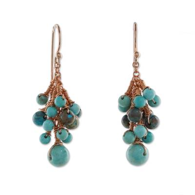 Serpentine and Agate Dangle Earrings from Thailand