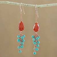 Carnelian and serpentine dangle earrings, 'Autumn Wind'