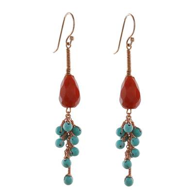 Carnelian and serpentine dangle earrings, 'Autumn Wind' - Carnelian and Serpentine Dangle Earrings from Thailand