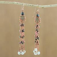Multi-gemstone dangle earrings, 'Rains of Paradise' - Multi-Gemstone Dangle Earrings Handcrafted in Thailand