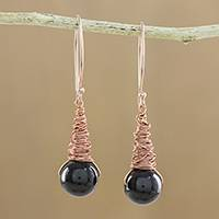 Garnet dangle earrings, 'Cute Cones'