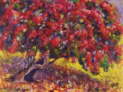 'Wayside Bougainvillea' - Signed Impressionist Painting of a Bougainvillea Tree
