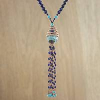 Multi-gemstone beaded pendant necklace, 'Majestic Universe' - Multi-Gem Beaded Pendant Necklace in Blue from Thailand