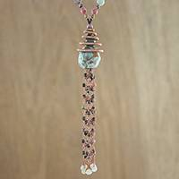 Multi-gemstone beaded pendant necklace, 'Noble Universe' - Multi-Gem Beaded Pendant Necklace in Green from Thailand