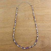 Multi-gemstone beaded necklace, 'Glittering Dream' - Multi-Gemstone Beaded Necklace in Purple from Thailand