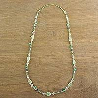 Multi-gemstone beaded long necklace, 'Verdant Dream' - Multi-Gemstone Beaded Necklace in Green from Thailand