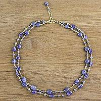 Gold plated tanzanite station necklace, 'Marine Love' - Gold Plated Tanzanite Station Necklace from Thailand