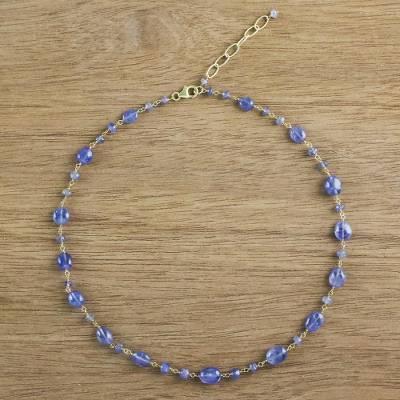 Gold accented tanzanite station necklace, 'Relaxing Season' - 18k Gold Plated Tanzanite Link Necklace from Thailand