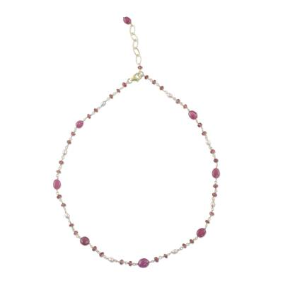 18k Gold Plated Ruby and Cultured Pearl Station Necklace