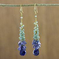 Gold plated apatite and tanzanite dangle earrings, 'Happy Sky' - Apatite and Tanzanite Cluster Dangle Earrings from Thailand