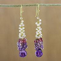 Gold plated amethyst and tourmaline dangle earrings, 'Happy Sky' - Amethyst and Tourmaline Cluster Dangle Earrings