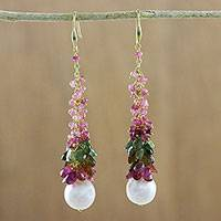 Gold accented tourmaline and cultured pearl dangle earrings, 'Sweet Bud' - Gold Accented Tourmaline and Cultured Pearl Dangle Earrings