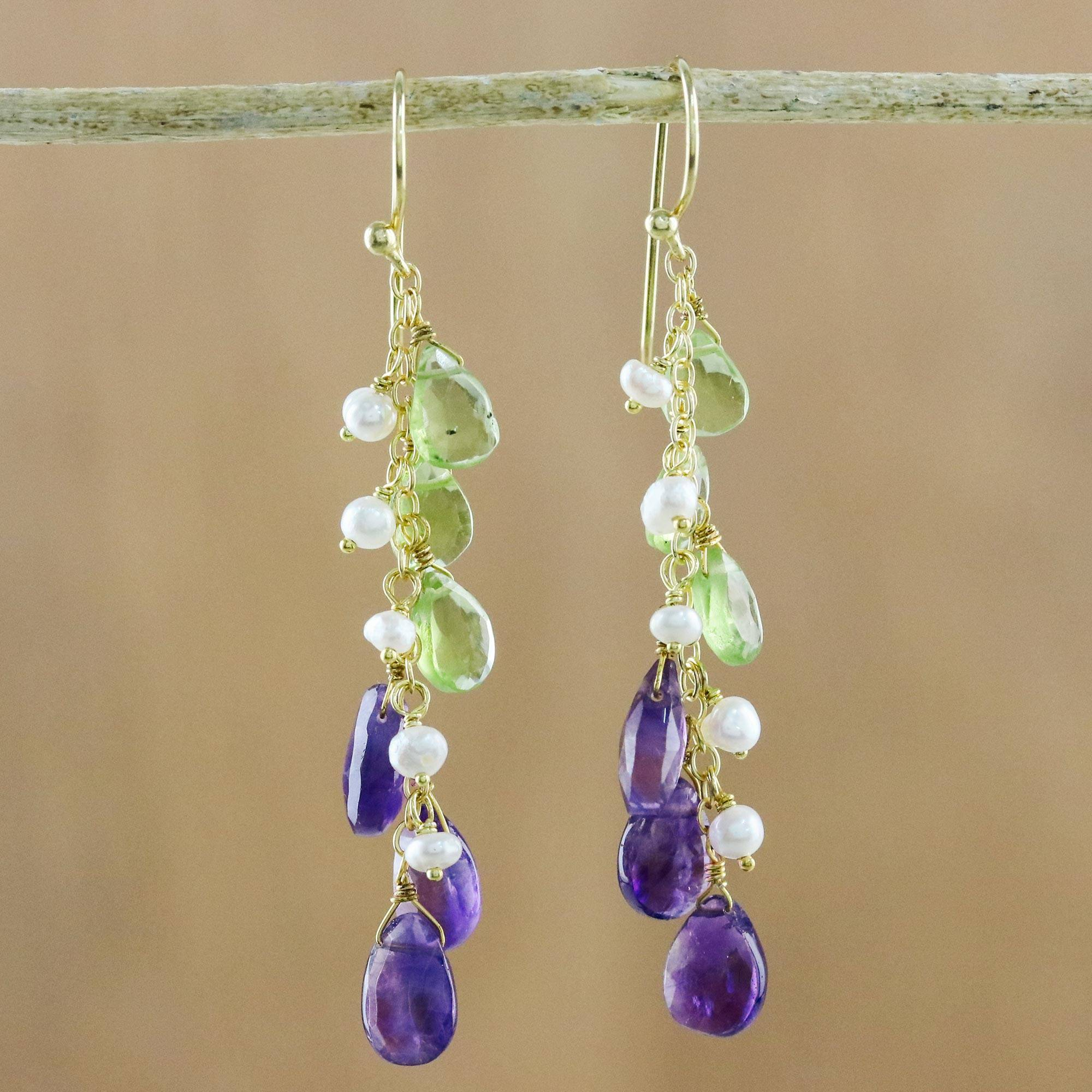 Novica Gold plated multi-gemstone dangle earrings, Beautiful Blue Rain