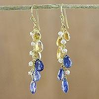 Gold plated multi-gemstone dangle earrings, 'Beautiful Blue Rain' - Gold Plated Multi-Gemstone Dangle Earrings in Blue