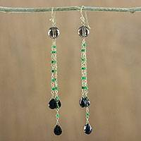 Gold accented multi-gemstone dangle earrings, 'Dark Forest Rain' - Artisan Crafted Gold Accented Multi-Gem Earrings