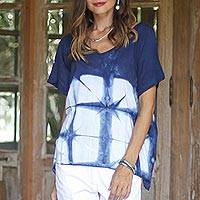 Cotton short sleeve blouse, 'Sunlit Window' - Indigo White Geometric Tie-Dye Short Sleeve Cotton Blouse