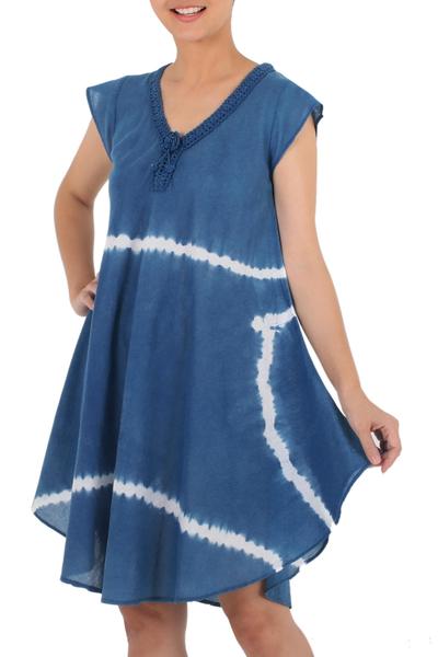 Denim Blue White Stripe Tie-Dye Cap Sleeve Cotton Dress